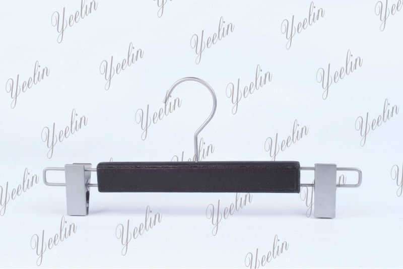 New High Quality, Pants, Trousers Hanger, Leather Hanger with Metal Clips (YLLT33218-GRYUS1)