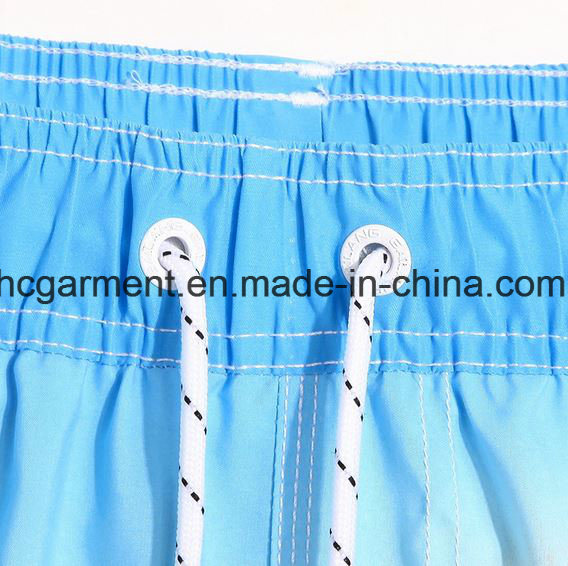 4 Way Fabric, Blue Color Printed Design Beach Shorts for Man