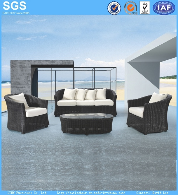 American Style Modern Design Outdor Garden Furniture Black Rattan Sofa Set