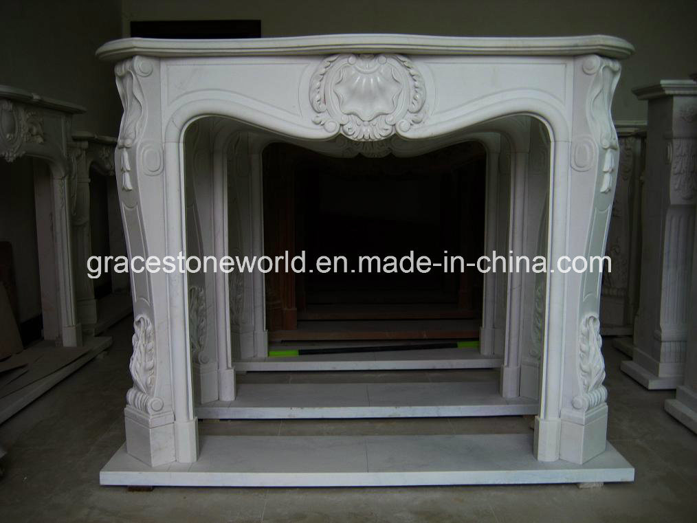 Marble Carved Fireplace Mantel (GS-FF-024)