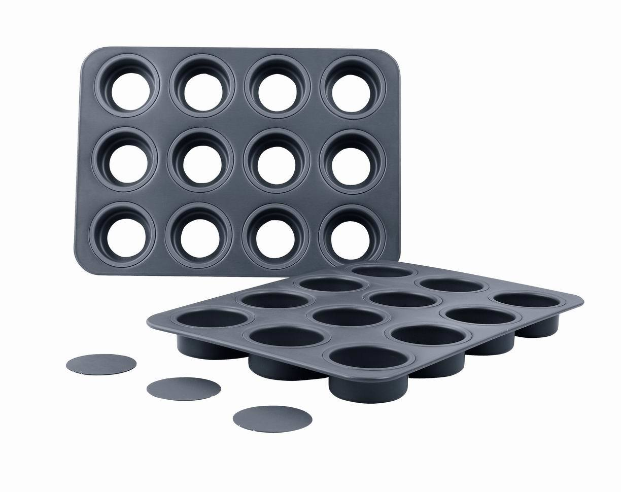 Bakeware Aluminum Hard Anodized 12 Hole Muffin Pan with Loose Base (MY2952H)