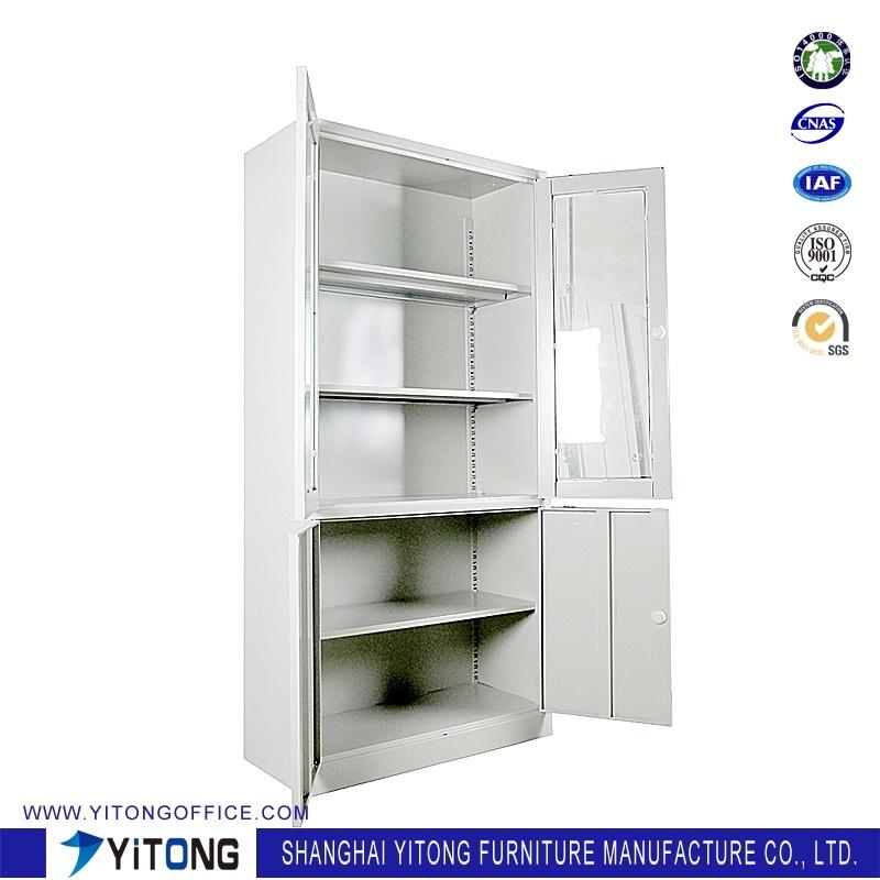 4-Door Glass Door Metal Storage Cabinet / Office Use Steel File Cabinet