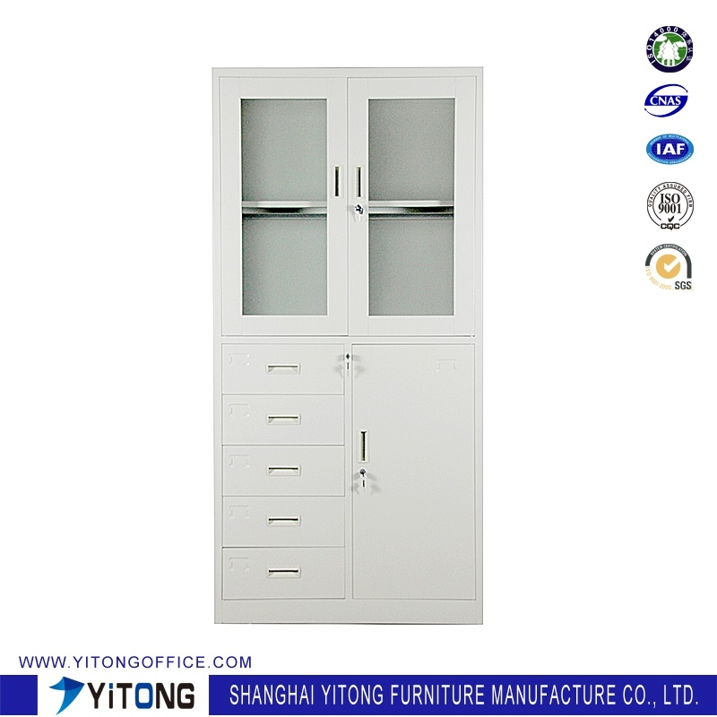 3-Door 5-Drawer Metal Storage Cabinet / Office Use Steel File Cabinet