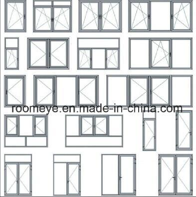 New Design Hot Sale Wood Color Aluminum Casement Window with Grill for Commercial and Residential with Ex-Factory Price (ACW-015)