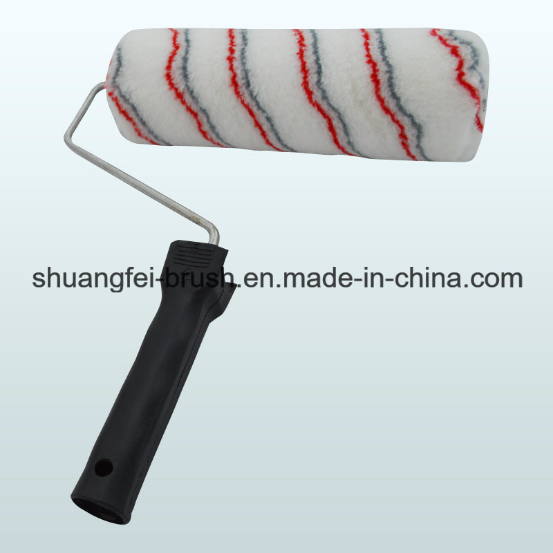 Grey & Red Stripe Paint Roller with Handle