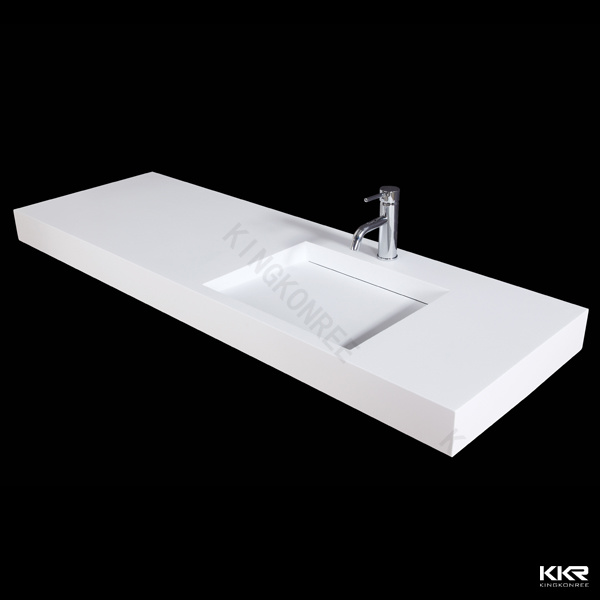Bathroom Sink Countertop One Piece : China Solid Surface Stone One Piece Bathroom Vanity with Sink (KKR ...
