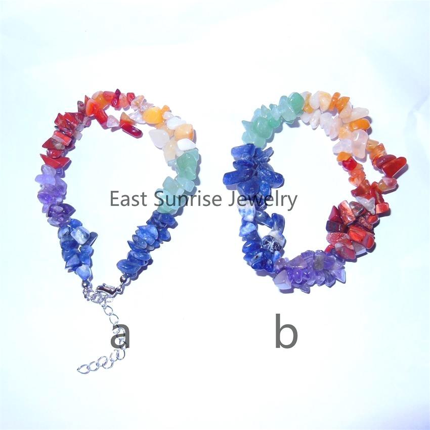 Fashion Precious Stone Crystal Charkra Chips Bead Bracelet