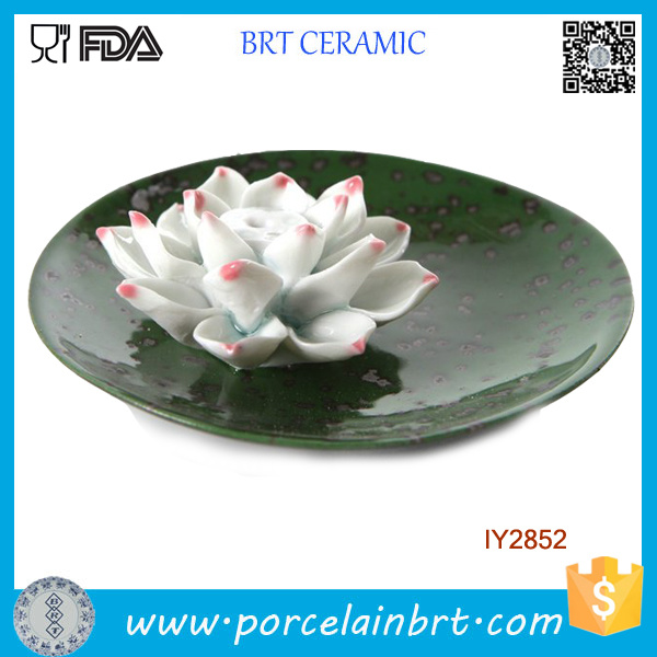 Lotus Flower Ceramic Green Circular Tray Articles Handicraft