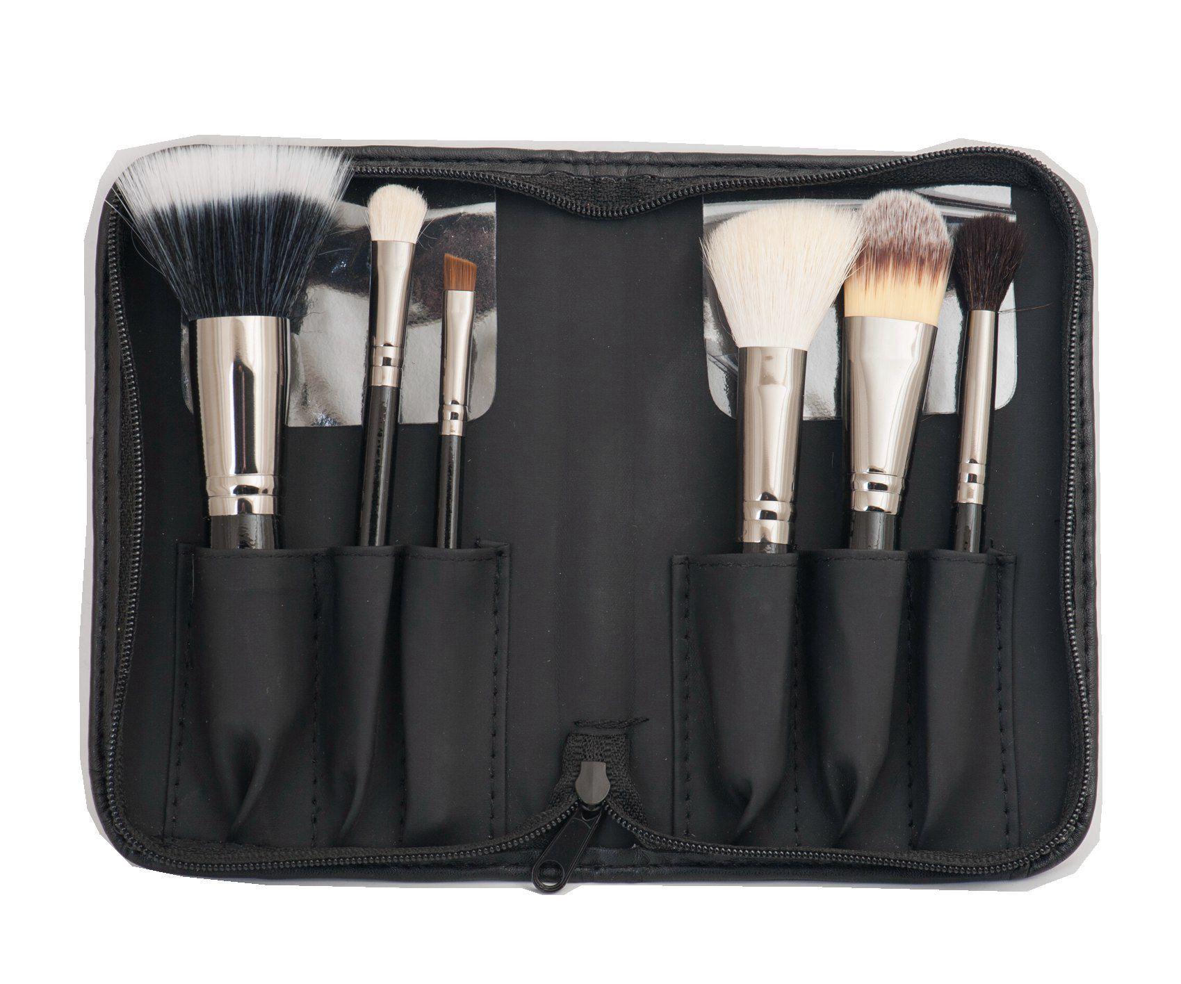 6PCS Travel Makeup Brush with Gun Metal Color Ferrule