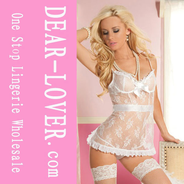White Lace Thong Lingerie Sexy Young Girl′s Babydoll