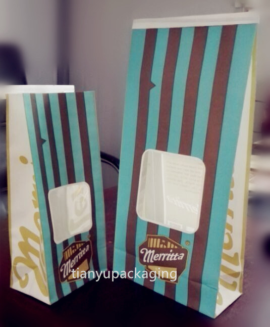 Take Away Kraft Paper Grocery Bag Food Paper Carry Bag Popcorn Bag
