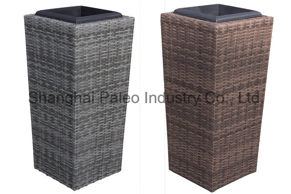 Wicker Wastebasket With Lid Small : Small outdoor wicker trash can modern patio