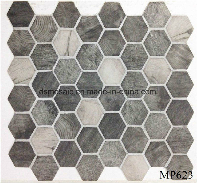 Newest Technology Full Body Wooden Hexagon Glass Mosaic