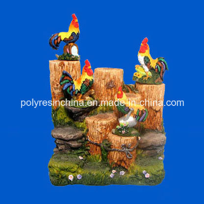Polyresin Fountain with Home Decoration Rooster