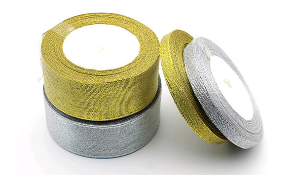Wholesale Polyester Silvery Metallic Ribbon