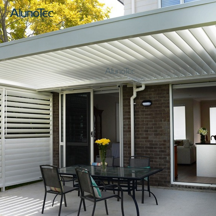 Motorised Waterproof Louver Roof System Automated Lourvre Roof Pergola