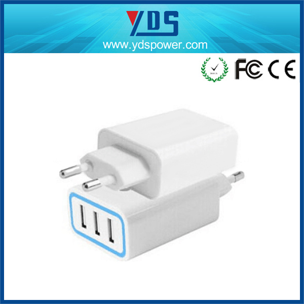 Factory 3 USB Port Fast Charger Mobile Phone Wall Travel Charger