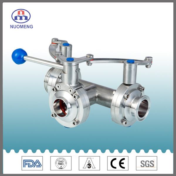 Stainless Steel Three-Way Thread/Clamp/Weld Butterfly Valve with One Pulling Handle