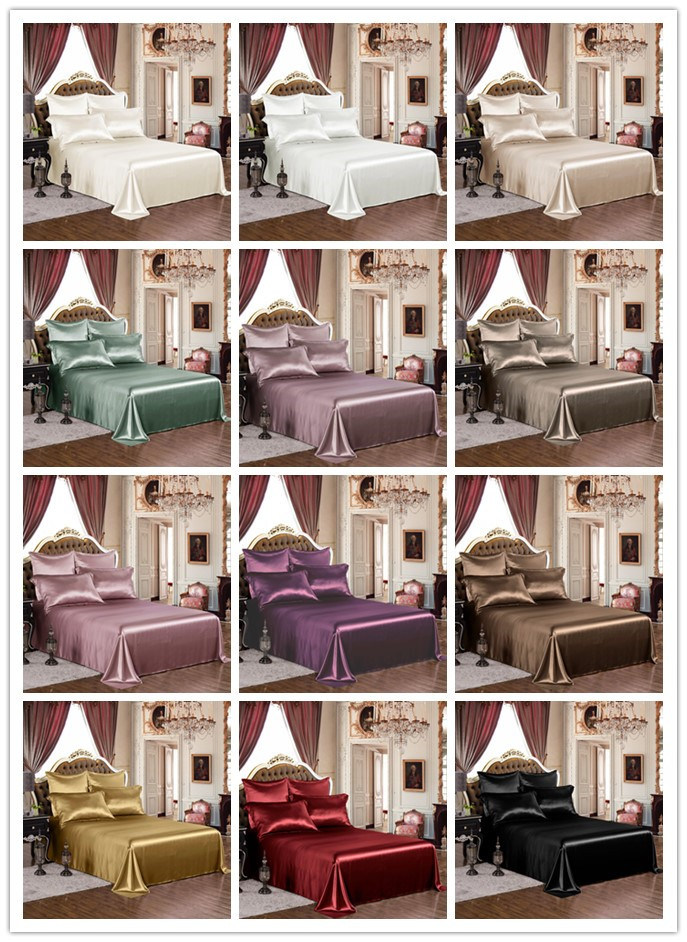 Thxsilk Solid Color Twin Queen King Size Silk Bed Sheets