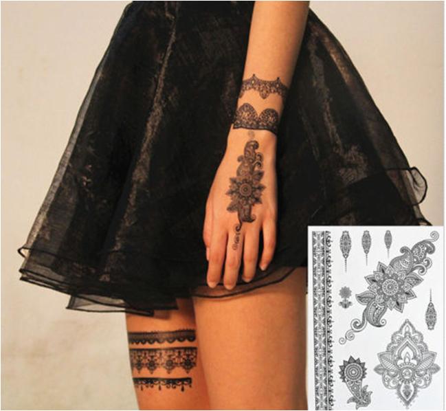 Fashionable Sexy Black Temporary Tattoo Sticker Art Tattoo Sticker