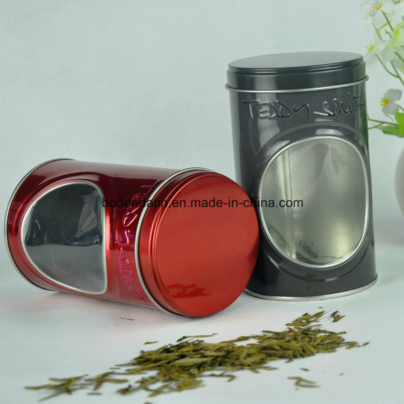 Custom Round Tea Packaging Tin Box with PVC Window