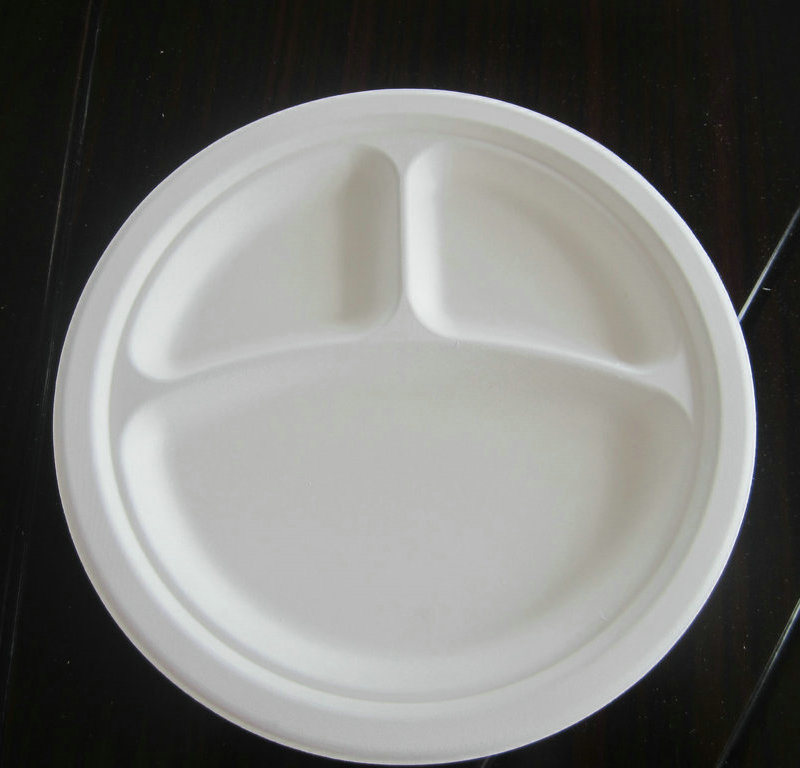 3compartment Disposable Biodegradable Sugarcane Plate
