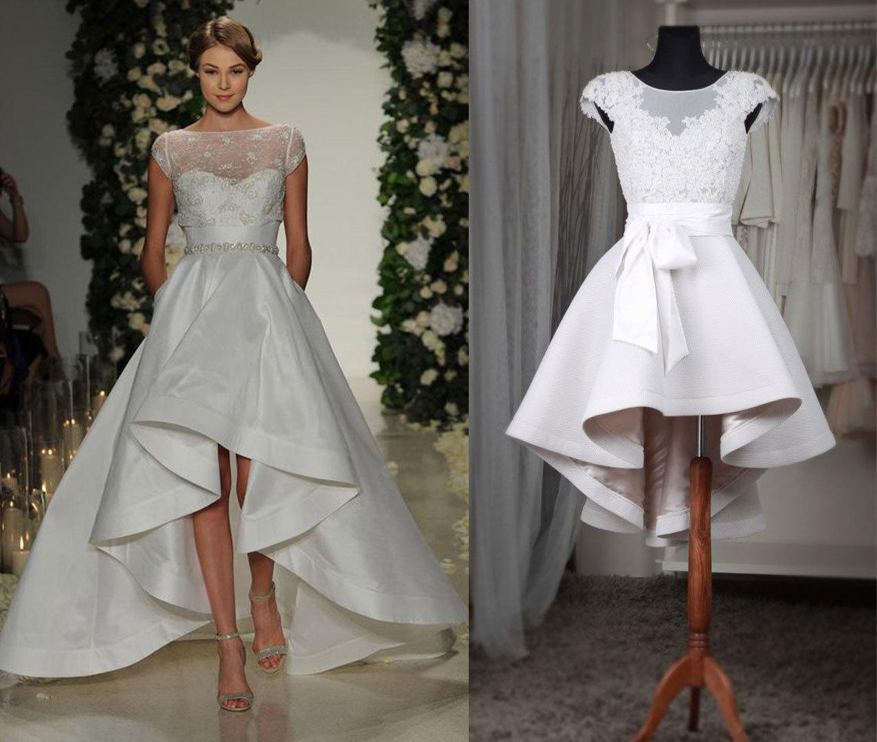High Low Boat Neck Satin Wedding Dress