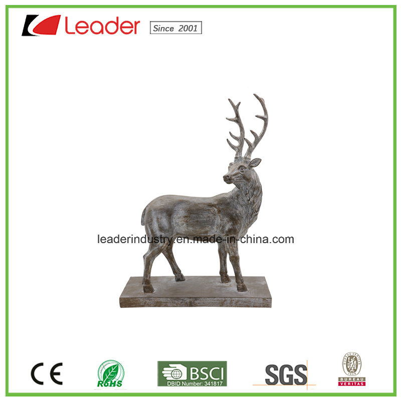 New Polyresin Deer Head with a Base Sculpture for Home and Table Decoration