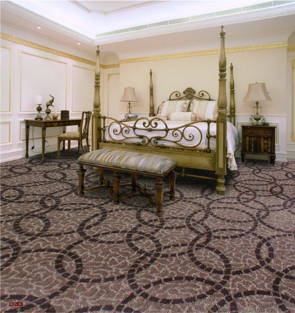 N375-Rolled 1/8 Nylon-PA6 Cut &. Loop Woven Full-Width Repeat Office/Hotel/House Carpet