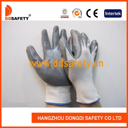 Ddsafety 2017 13G White Nylon Grey Nitrile Coated Work Gloves