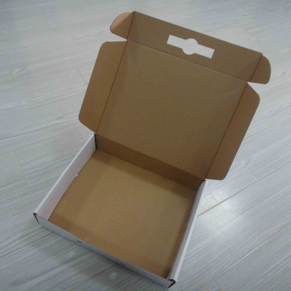 Color Printed Corrugated Paper Box with Plastic Handle