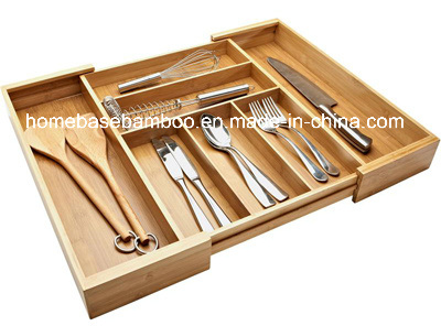 Eco-Friendly Bamboo Drawer Expandalbe Cutlery Flatware Tray Organizers Storage Box (HB-107)