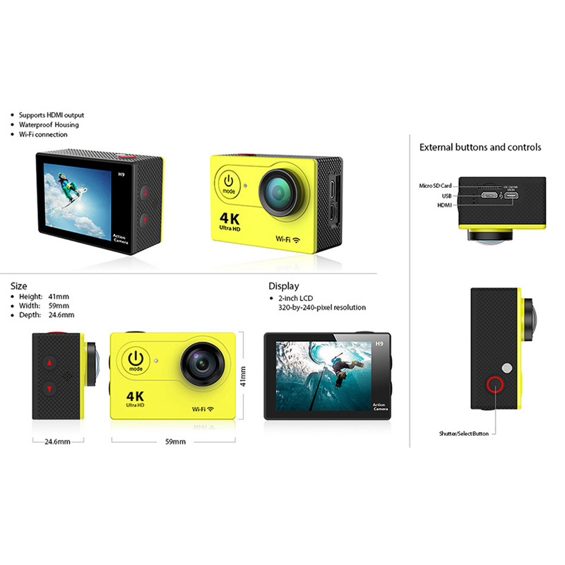Action Camera Ultra HD 4k WiFi 2.0 LCD 170d Sport Go Waterproof PRO Camera