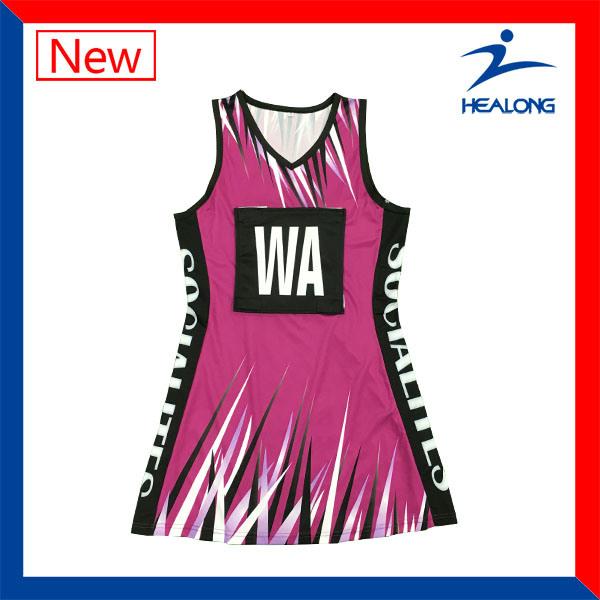 Custom Full Sublimation Womens Team Sports Gear Clothing Netball Dresses