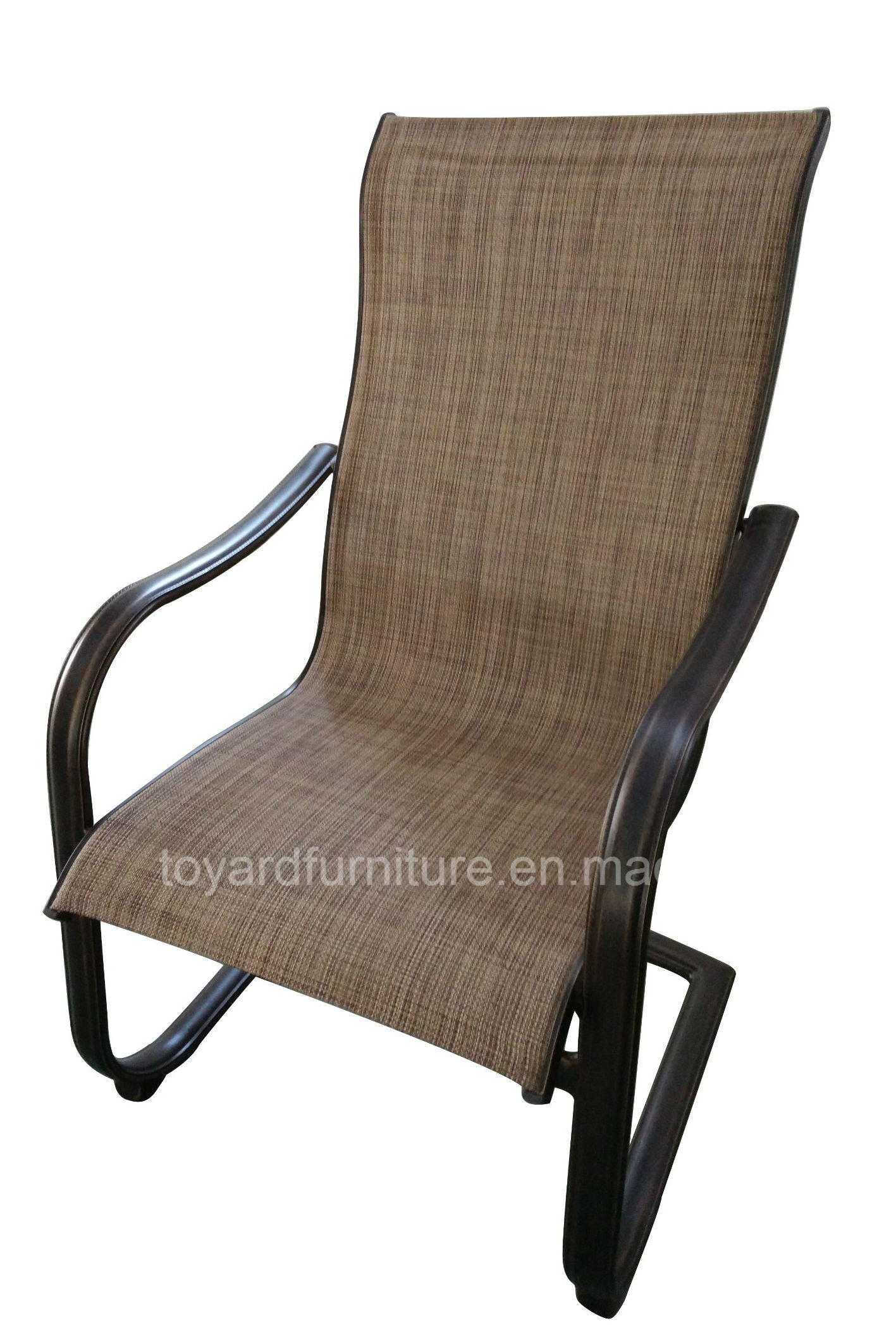 Best Choices Us Traditional Outdoor Spring Chair with Sling Mesh Back Aluminum Frame Brown Finish