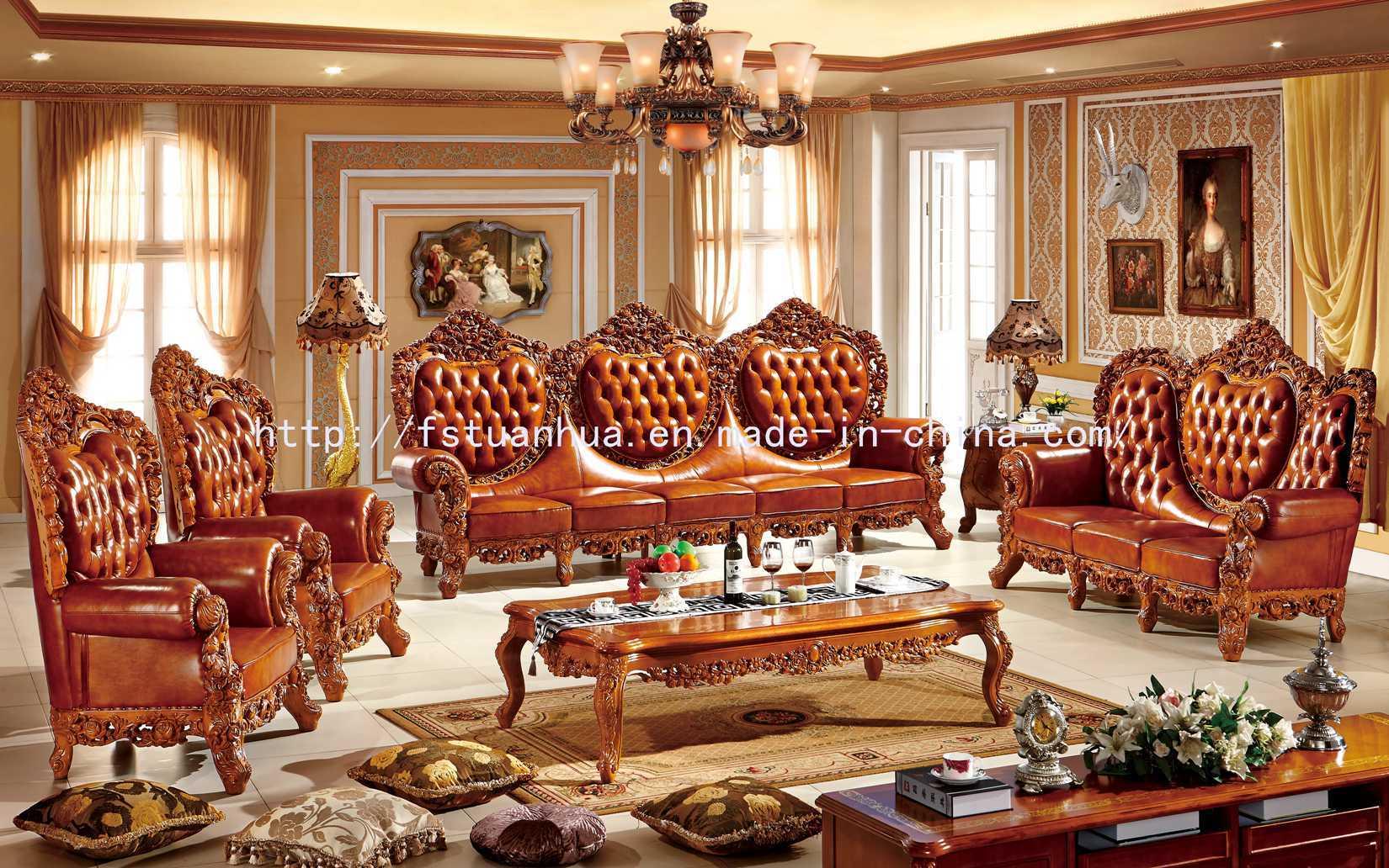 China luxury european wood carving luxury living room sofa - Sofas antiguos de madera ...