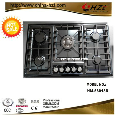 Black S. S Panel 5 Burner Built in Gas Stove