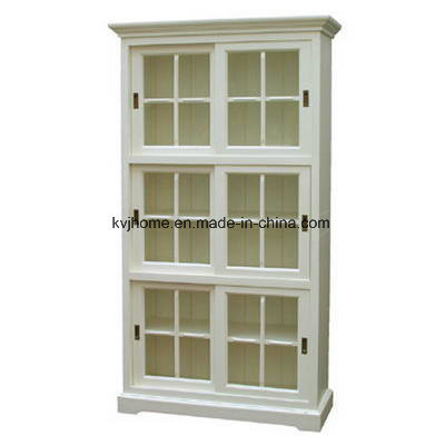 Glass White Bookcase Finish Home Funriture Cabinet (Wash-13)