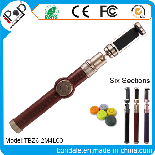 Fashion Aluminum Bluetooth Selfie Stick PU Leather with Shutter Kit