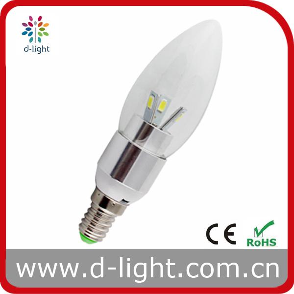 New Design Candelabra Aluminum Bulbs 3W E14 LED Candle Lighting
