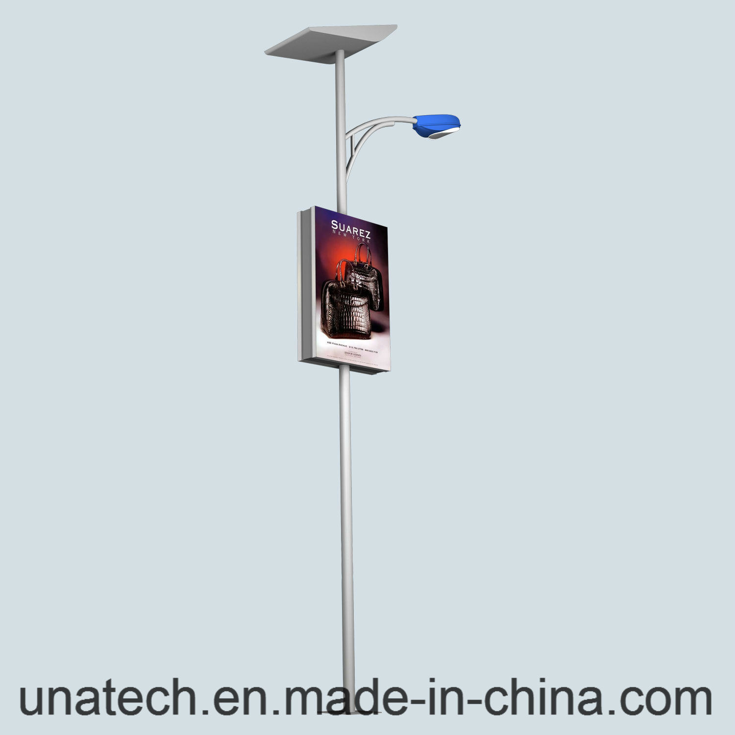 Solar Outdoor Street Road Lamp Pole Ads LED Banner Flex Promotion Light Box