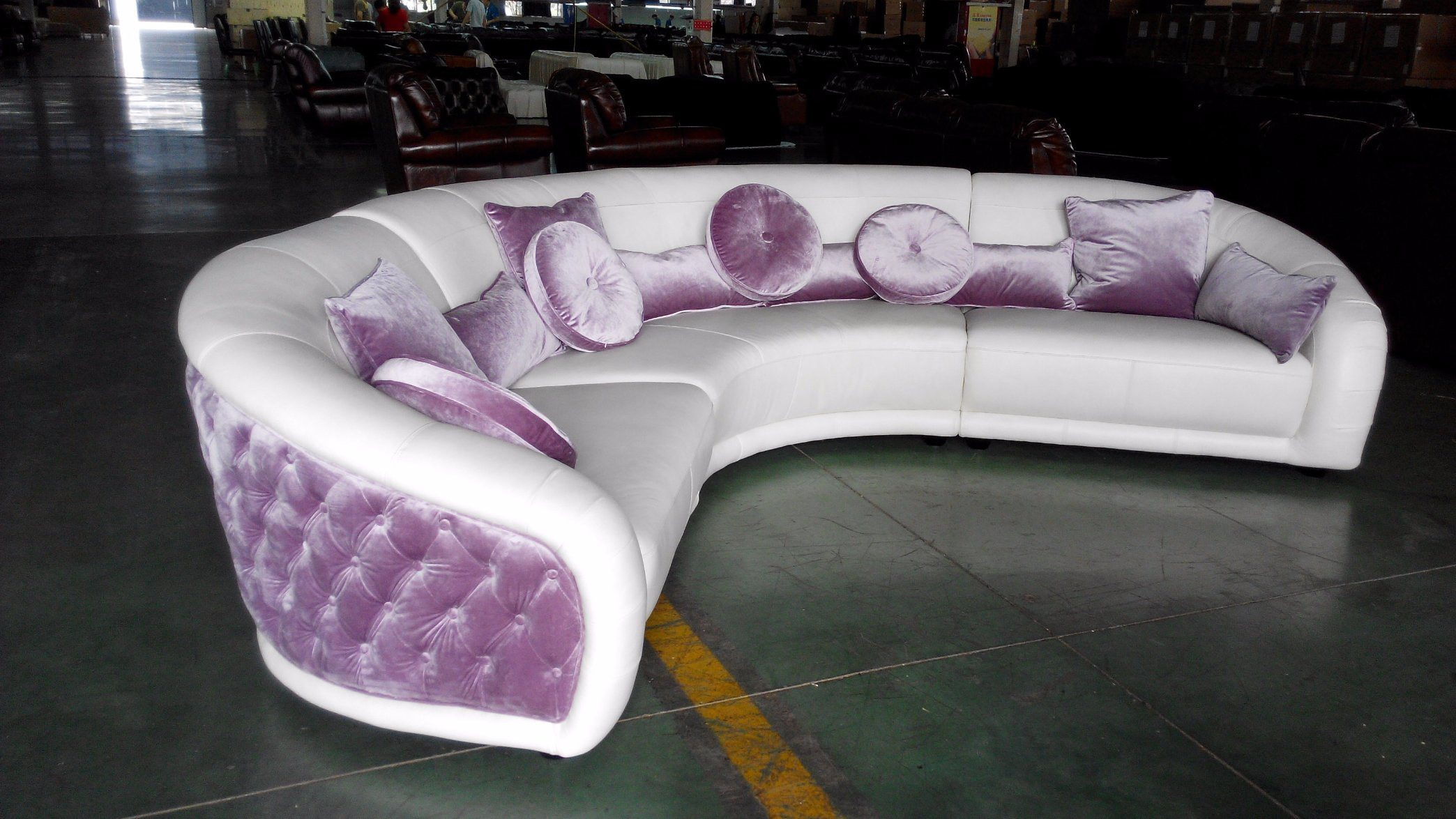 Luxury Italian Style Leather and Fabric Mixed Corner Sofa (B31)