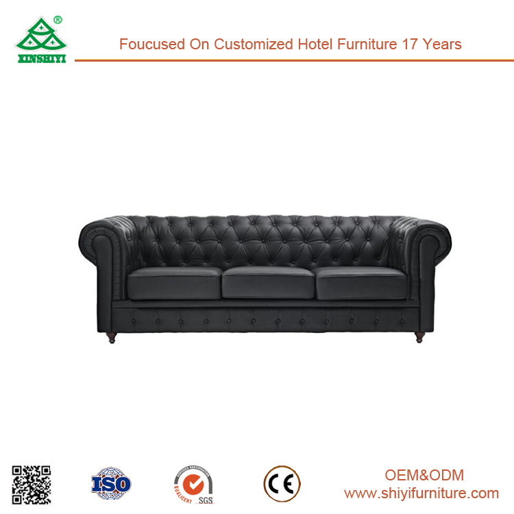 Home Furniture Living Room Furniture Black 3 Seater Sofa