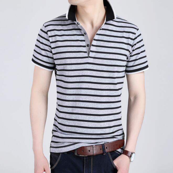 Custom Men′s Fashion Yarn Dyed Stripe Polo Shirt