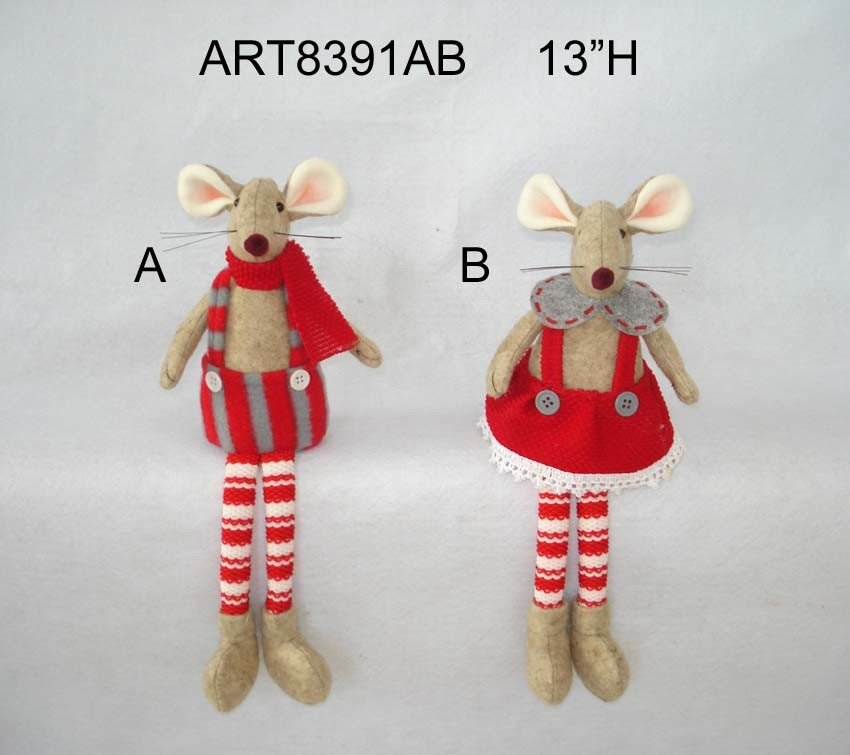 """12""""H Christmas Decoration Boy and Girl Mouse"""
