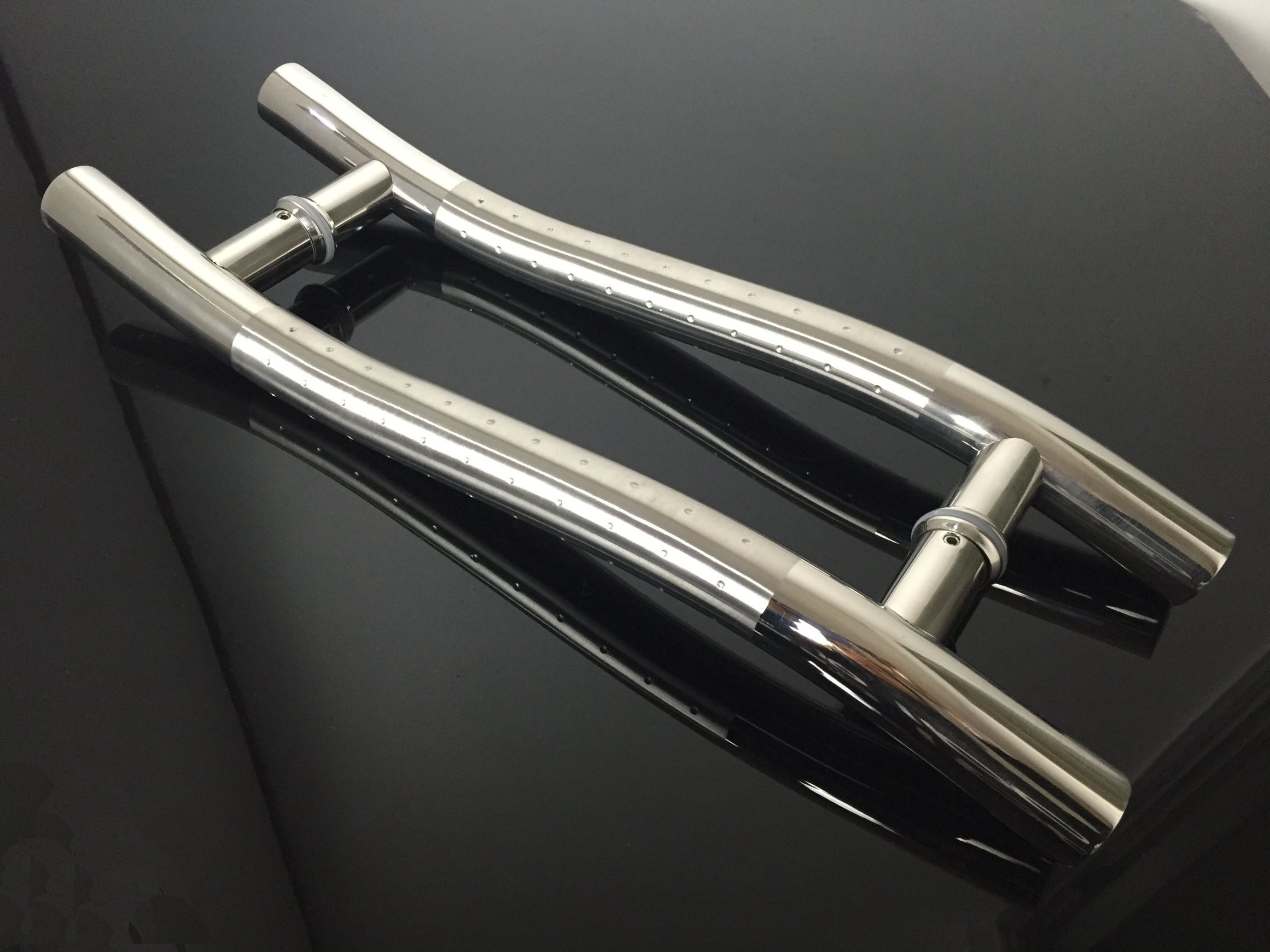 Satin+DOT Color Stainless Steel Handle Tube S Style Glass Door Handle