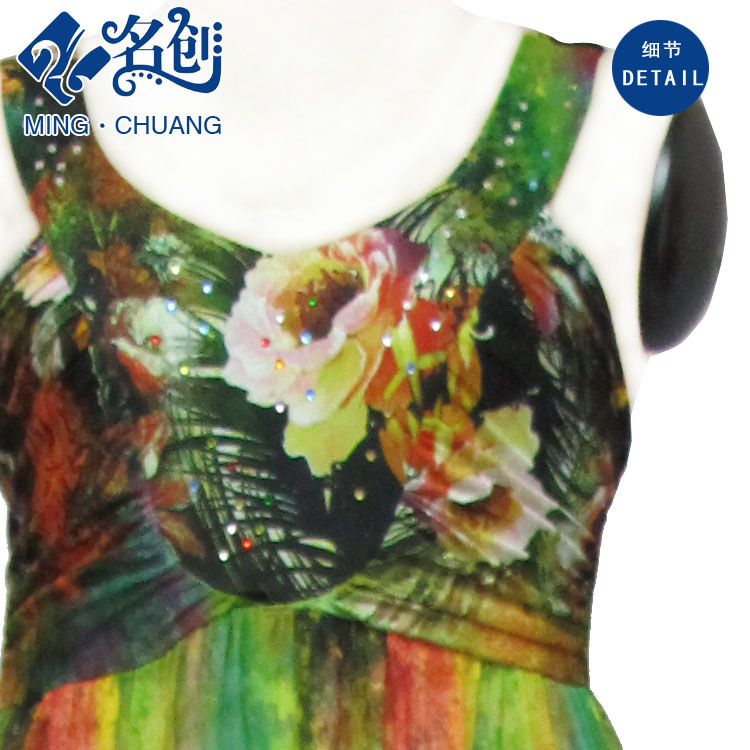 Multicoloured Sleeveless Exposing-Back Silky Slimmering-Waist Sexy Fashion Ladies Dress
