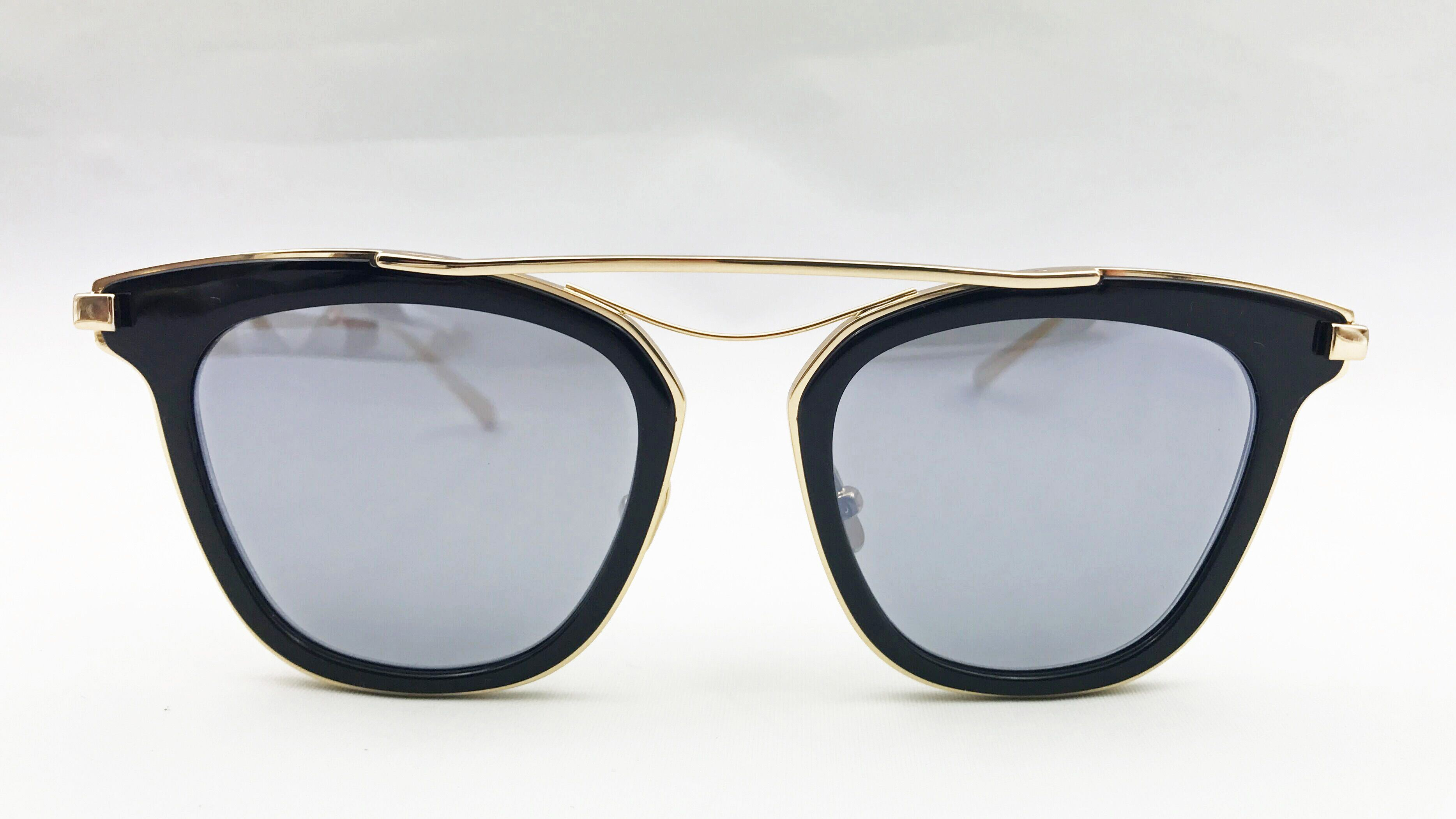 Elegant Black Acetate Eyewear for Lady Block Temple in K. Gold Plating