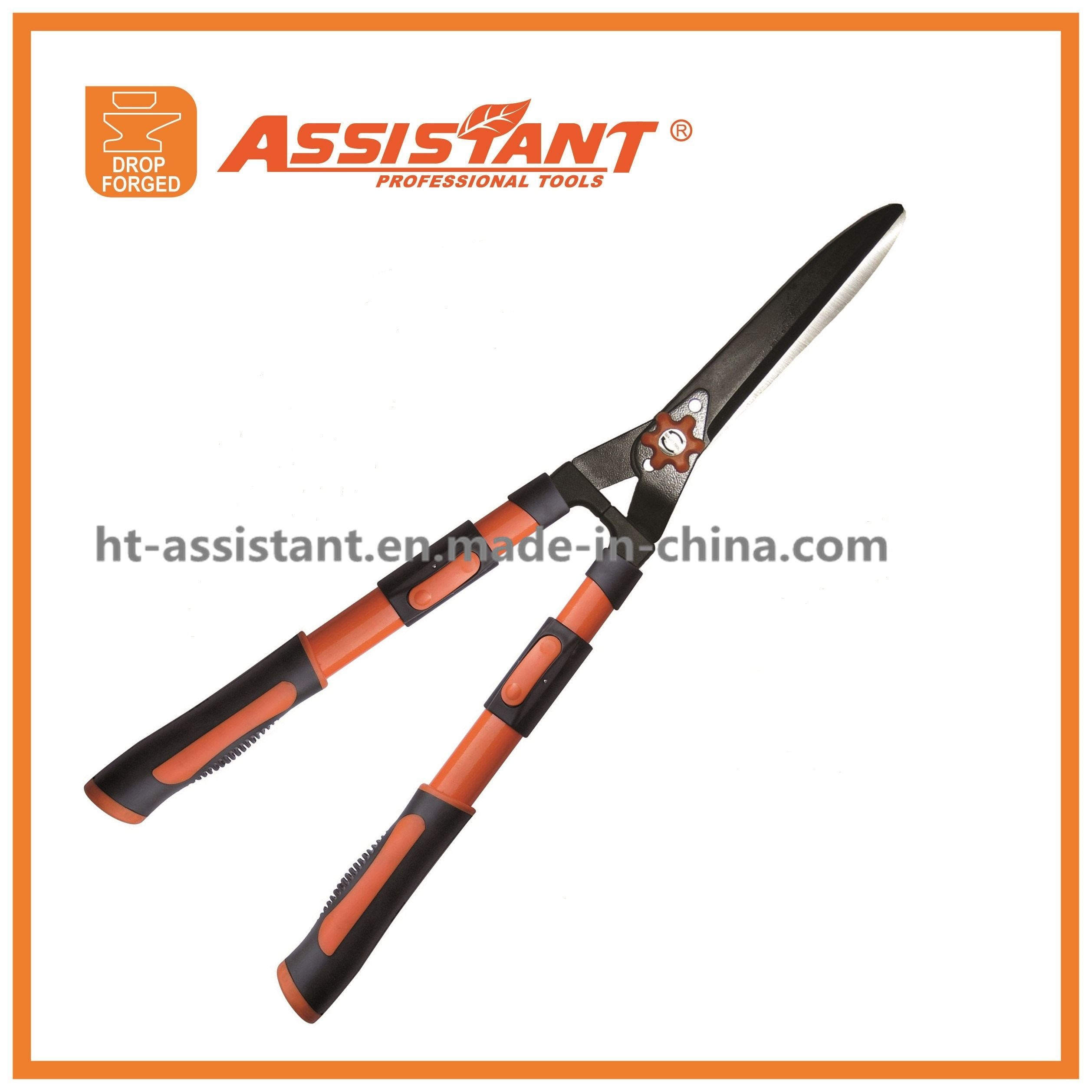 Tension Adjuster Teflon Coated Straight Hedge Shears with Extendable Handles