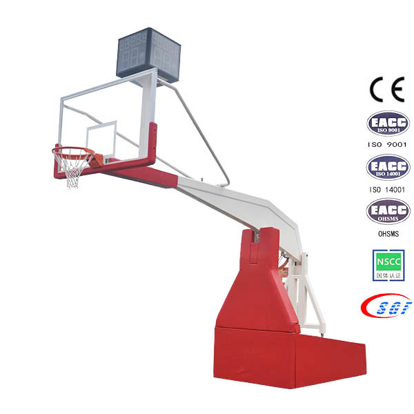 Electric Hydraulic Folding Basketball Stand Base with Tempered Glass Backboard